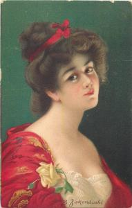 B. Zickendrah signed chromo postcard charm beauty lady portrait
