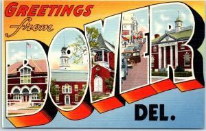 Vintage DOVER Delaware Large Letter Postcard Colorful Linen c1940s Unused