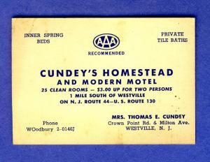 Cundey's Motel Business Card/Mini-Postcard, Westville, NJ