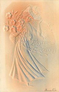 Embossed Airbrush Easter Postcard; Walking Woman with pot of Easter Lilies