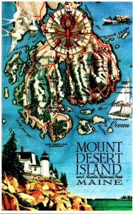 Map Of Mount Desert Island and Acadia National Park Maine