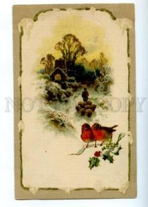 177063 NEW YEAR bullfinches Sheep herd Vintage GOM #1536 PC