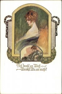 Art Nouveau Beautiful Woman Romance Dick You Think of Me? German c1910