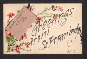 ME Vintage Greetings From South Farmington MAINE POSTCARD w/  Note Carte Postale