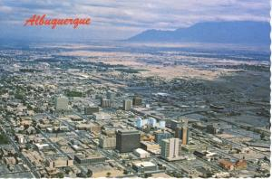 Albuquerque NM New Mexico Aerial View Sandia Mountain Vintage Postcard D10c