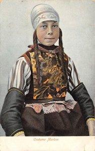 Native Dress Post Card Costume Marken Unused