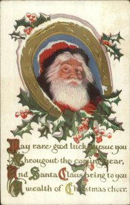 Christmas - Santa Claus Horseshoe B order Around Face c1910 Postcard