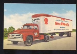 SIOUX CITY IOWA COOPER'S ONE MINUTE WASHERS SEMI TRUCK ADVERTISING POSTCARD