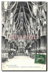 Postcard Old Toulouse Interior of the Church of Saint Sernin