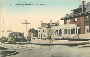 1909 Seattle Washington Residence Street hand colored Quaker hand colored 11966
