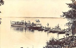 Storm Lake IA Bethards Dock Launch Boats Busy Scene Real Photo Postcard