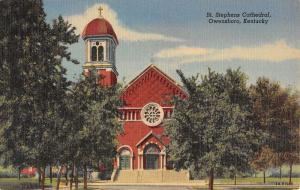 Owensboro Kentucky St Stephens Cathedral Street View Antique Postcard K54825