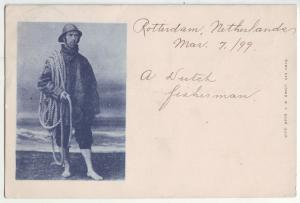 P900 very old card a dutch fisherman the netherlands with stamp