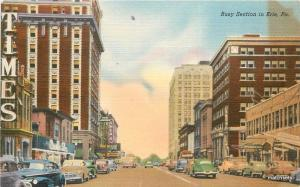 1940s Busy Section Street Scene Automobiles ERIE PA Spangenthals postcard 3793