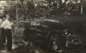 Car Wreck Automobile Accident Visible NY License Plate Real Photo Postcard G19