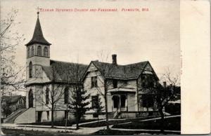 Plymouth Wisconsin~German Reformed Church & Parsonage~Pastor's House~c1910