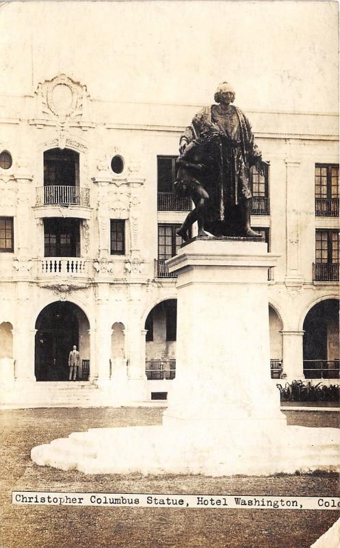 Colon Panama~Hotel Washington-Christopher Columbus Statue~Man @ Porch~c1920 RPPC