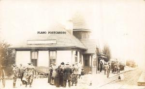 FORT LOGAN, COLORADO TRAIN DEPOT-1914 RPPC REAL PHOTO POSTCARD