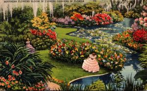 Florida Cypress Gardens Southern Flowers In Bloom 1950
