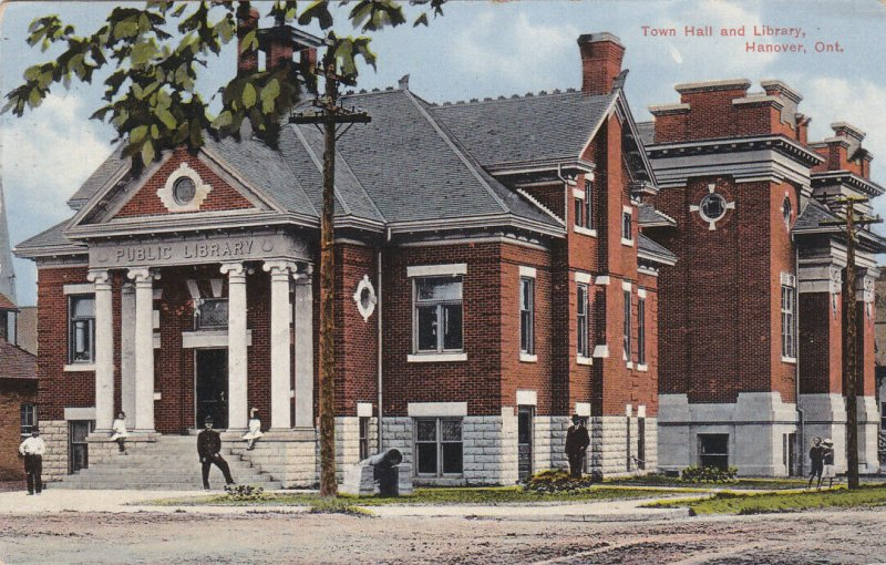 HANOVER , Ontario , 1915 ; Town Hall & Library