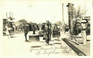 china, PEKING PEIPING, Street Scene with Native Porter (1920s) Hartung RPPC