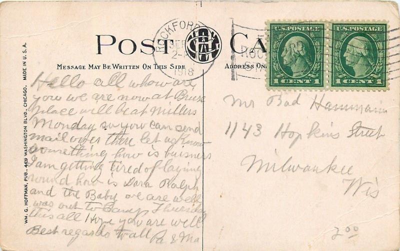 Rockford Illinois~Sinnissippi Park~Tunnel  Under Stone Bridge 1918 Postcard