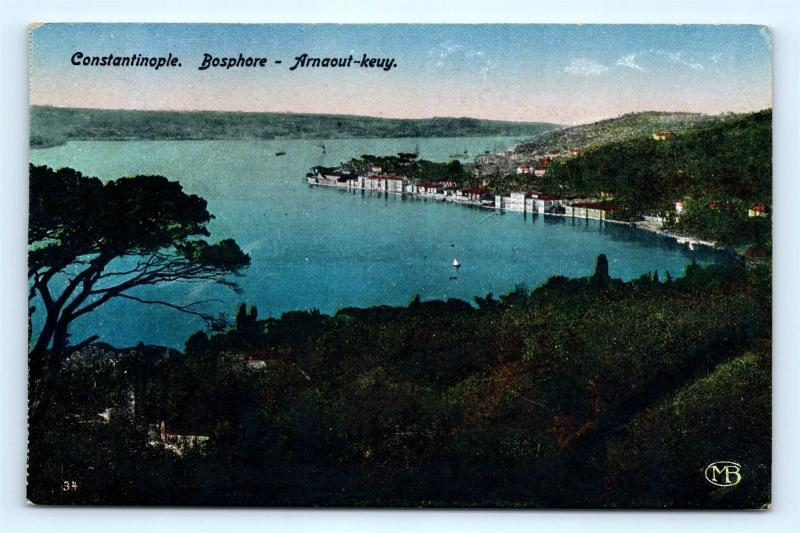 Postcard Turkey Constantinople Bosphore Arnaout Keuy K10