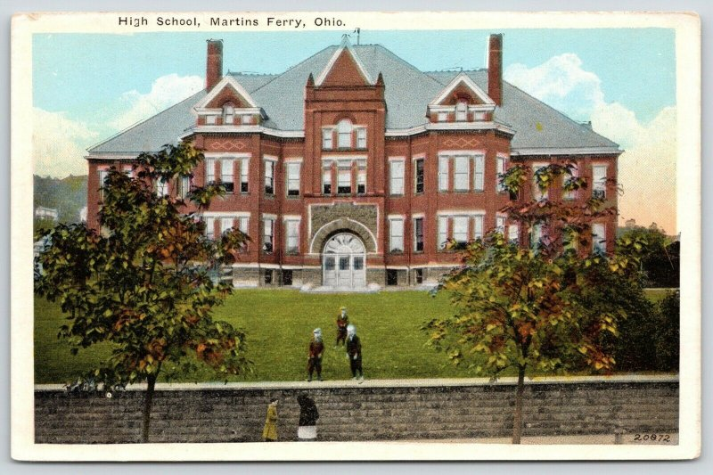 Martins Ferry Ohio~High School~Boys Taunt Girls From Atop Stone Wall~1916 PC