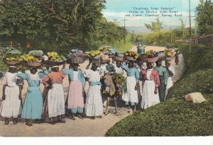 P1938 old postcard women going to market w/yams etc constant spring rd jamaica
