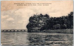 Starved Rock State Park, Illinois Postcard Dam in Background Utica IL c1940s