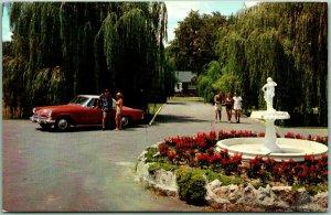Kerhonkson, New York Postcard GRANT HOTEL & COUNTRY CLUB Fountain View 1950s Car