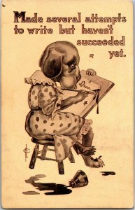 Dog in Dress Writing Ink Blots, Spilled Ink Frederic Cavally c1913 Postcard A29