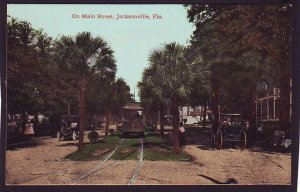P1472 old unused postcard view trolly old car main street jacksonville florida