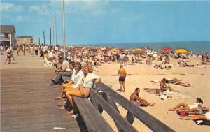 Rehoboth Beach Delaware~Sunbathers~People on Boardwalk~Beauties~1950s Postcard