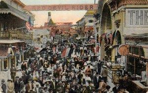CONEY ISLAND, NY Bowery Red Devil Rider Amusement Park c1910s Vintage Postcard