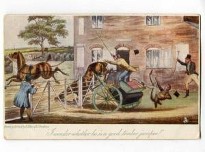 251264 COMIC Racing HORSE by ALKEN Vintage TUCK #2722 PC