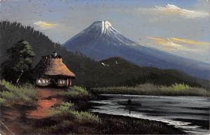 Japan Japanese Old Vintage Antique Post Card Postcard Mt Fuji Writing on back