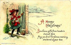 Greeting - Christmas.  Artist: F. Brundage  (Gabriel Series 219)   (soiled)