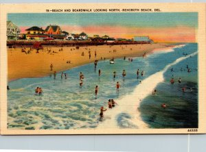 Vtg 1930s Beach & Boardwalk Looking North Rehoboth Beach Delaware DE Postcard