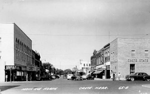 Crete NE Main Avenue Storefronts Old Cars Movie Theatre Real Photo Postcard