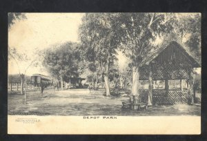 BROWNSVILLE TEXAS RAILROAD DEPOT PARK TRAIN STATION VINTAGE POSTCARD 1907