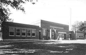 Rushville Illinois~Webster School~Auditorium~1940s RPPC Real Photo Postcard