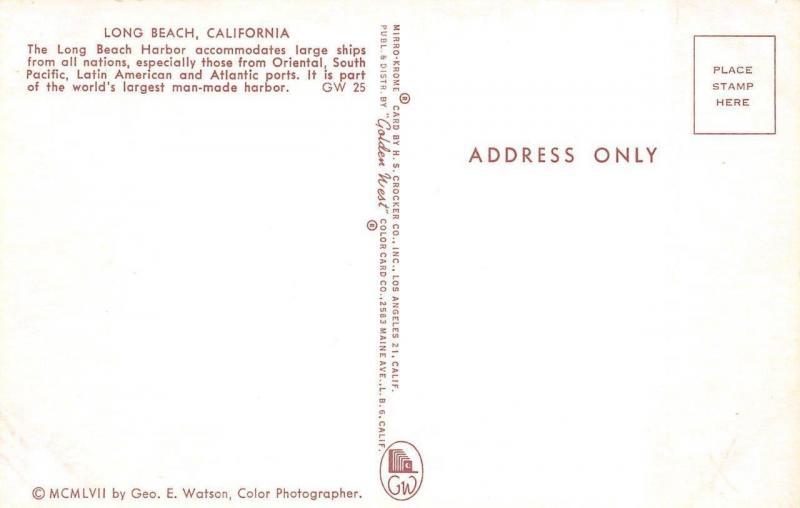 Long Beach Ca California Cargo Ship Indian Bear In The Harbor Postcard