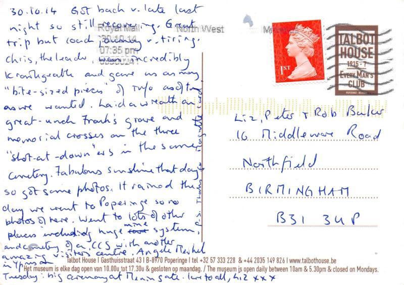 Vintage Repro Postcard Talbot House, Every Man's Club WW1 1915, Belgium #660