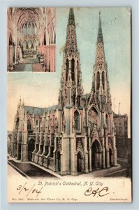 Historic St Patrick's Cathedral, Alter View Spires Vintage New York Postcard