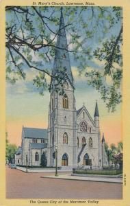 St. Mary's Church Lawrence MA Massachusetts Queen City of Merrimac Valley Linen