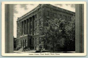 Paris Texas~Lamar County Court House~Side View~Art Deco Grayscale Border~1947