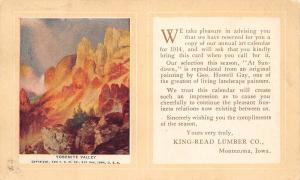 Montezuma Iowa~King-Read Lumber Co~J McCormick~Come Get Calendar~1913 Adv PC