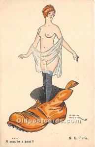 A Puss in a Boot Nude Postcard Artist Leven Lemonier Unused