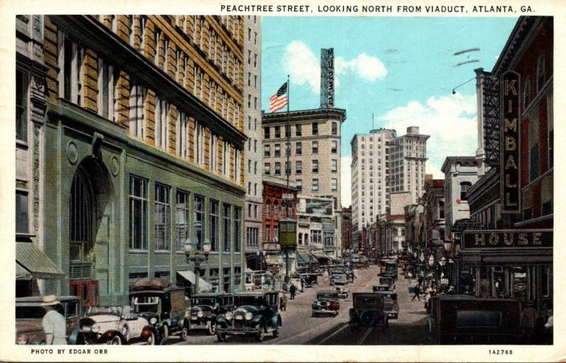 Georgia Atlanta Peachtree Street Looking North From Viaduct 1935 Curteich